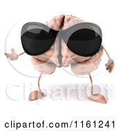 3d Brain Mascot Wearing Sunglasses And Presenting