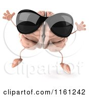 3d Brain Mascot Wearing Sunglasses And Jumping