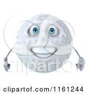 Clipart Of A 3d Happy Golf Ball Mascot Royalty Free CGI Illustration