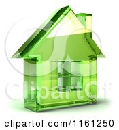 Clipart Of A 3d Green Glass House Royalty Free CGI Illustration