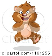 Cartoon Of A Happy Bear Running Royalty Free Vector Clipart by yayayoyo