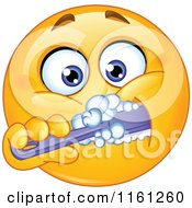 Cartoon Of A Smiley Emoticon Brushing His Teeth Royalty Free Vector Clipart by yayayoyo