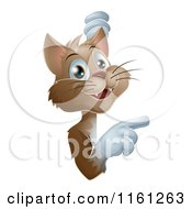 Cartoon Of A Happy Brown Cat Looking Around And Pointing To A Sign Royalty Free Vector Clipart
