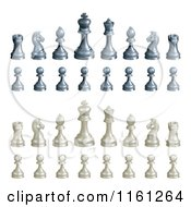 Clipart Of A 3d Set Of Black And White Chess Pieces Royalty Free Vector Illustration