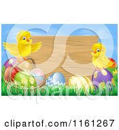 Cartoon Of Happy Easter Chicks On Eggs In Front Of A Wooden Sign Against A Blue Sky Royalty Free Vector Clipart