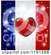 Clipart Of A Shiny Red Heart And Fireworks Over A French Flag Royalty Free Vector Illustration by AtStockIllustration