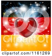 Clipart Of A Shiny Red Heart And Fireworks Over A German Flag Royalty Free Vector Illustration