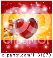 Clipart Of A Shiny Red Heart And Fireworks Over A Spanish Flag Royalty Free Vector Illustration