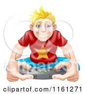 Cartoon Of An Obsessed Blond Gamer Guy Holding A Remote Royalty Free Vector Clipart