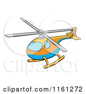Cartoon Of A Blue Orange And Yellow Helicopter Royalty Free Vector Clipart by AtStockIllustration