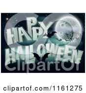 Cartoon Of A Happy Halloween Greeting With Bats A Full Moon Bare Trees And Night Sky Royalty Free Vector Clipart