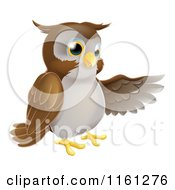 Cartoon Of A Happy Owl Presenting Or Pointing With His Wing Royalty Free Vector Clipart by AtStockIllustration