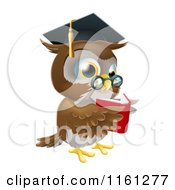 Cartoon Of A Wise Owl Wearing A Graduation Cap And Reading A Book Royalty Free Vector Clipart by AtStockIllustration