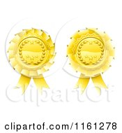 Clipart Of Two Golden Laurel Wreath And Star Rosette Award Ribbons Royalty Free Vector Illustration by AtStockIllustration