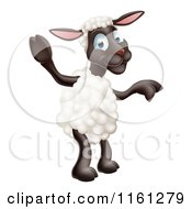 Cartoon Of A Happy Sheep Standing And Waving And Pointing Royalty Free Vector Clipart
