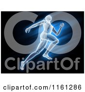 Clipart Of 3d Anatomy Of A Runner Over Blue And Black Royalty Free CGI Illustration by Mopic