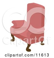 Pink Chair With Wooden Legs Clipart Illustration