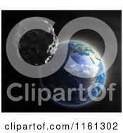 Clipart Of A 3d Asteroid Nearing Earth Royalty Free CGI Illustration by Mopic