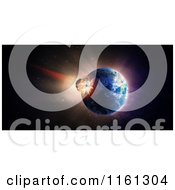 Clipart Of A 3d Asteroid Crashing Into Earth Royalty Free CGI Illustration