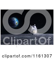 Clipart Of A 3d Apollo Lunar Lander On The Moon With Earth In The Distance Royalty Free CGI Illustration