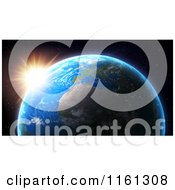 Clipart Of A 3d Earth With The Sun Setting Over The Rim Near Africa Royalty Free CGI Illustration