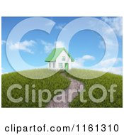 Clipart Of A Path Leading To A 3d House With A Green Roof On Top Of A Hill Royalty Free CGI Illustration