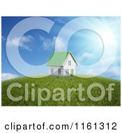 Clipart Of A 3d House With A Green Roof On Top Of A Hill Under The Sun Royalty Free CGI Illustration by Mopic