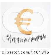 Clipart Of A Crowd Of 3d Tiny People Around A Golden Euro Symbol 2 Royalty Free CGI Illustration by Mopic