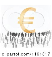 Clipart Of A Crowd Of 3d Tiny People Around A Golden Euro Symbol Royalty Free CGI Illustration by Mopic