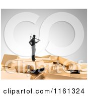 Clipart Of A 3d Gold Digger With A Pickaxe Standing On Top Of Bars 2 Royalty Free CGI Illustration by Mopic