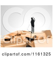 Clipart Of A 3d Gold Digger With A Pickaxe Standing On Top Of Bars Royalty Free CGI Illustration by Mopic