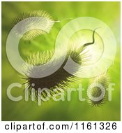 Clipart Of 3d Furry Bacteria On Green Royalty Free CGI Illustration