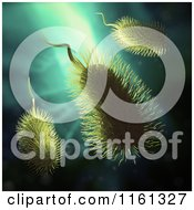 Clipart Of 3d Furry Bacteria On Blue Royalty Free CGI Illustration by Mopic
