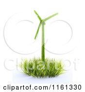 Clipart Of A 3d Leafy Windmill In Grass Royalty Free CGI Illustration by Mopic