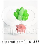 Clipart Of A 3d Pink Piggy Bank Floating With Green Balloons Royalty Free CGI Illustration by Mopic