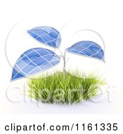 Clipart Of A 3d Plant With Photovoltaic Solar Panel Leaves Royalty Free CGI Illustration