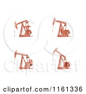 Clipart Of 3d Oil Pumps In Different Positions Royalty Free CGI Illustration