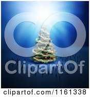 Clipart Of A 3d Giant Christmas Tree Surrouned By Tiny People Royalty Free CGI Illustration by Mopic