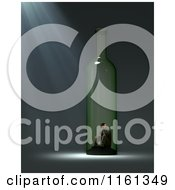 Clipart Of A 3d Alcoholic Man Stuck In A Bottle Royalty Free CGI Illustration