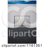 Clipart Of A 3d Cargo Delivery Gate With The Door Down And A Patch Of Sky Royalty Free CGI Illustration