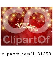 Happy Valentines Day Greeting With Gold Sparkles Flares And Hearts On Red
