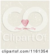 Clipart Of A Happy Valentines Day Greeting And Heart On Grungey Tan Royalty Free Vector Illustration