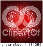 Clipart Of A Transparent Red Heart With A Star Burst Royalty Free Vector Illustration