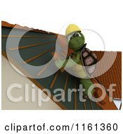 Clipart Of A 3d Tortoise Roofer Contractor Applying Shingles Royalty Free CGI Illustration