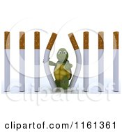 Clipart Of A 3d Tortoise Escaping Through Cigarette Prison Bars Royalty Free CGI Illustration