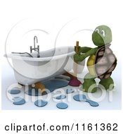 Clipart Of A 3d Plumber Tortoise Working On A Clogged Bath Tub Royalty Free CGI Illustration by KJ Pargeter