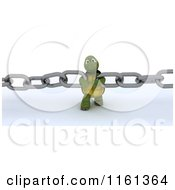 Clipart Of A 3d Tortoise Pulling Chain Links Together Royalty Free CGI Illustration by KJ Pargeter