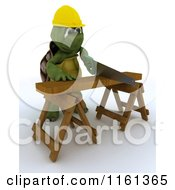 Clipart Of A 3d Carpenter Tortoise Worker Cutting Wood With A Saw Royalty Free CGI Illustration