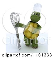 Clipart Of A 3d Tortoise Chef Presenting A Whisk Royalty Free CGI Illustration