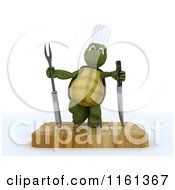 Clipart Of A 3d Tortoise Chef With A Carving Knife And Fork On A Cutting Board Royalty Free CGI Illustration